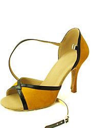 Customizable Women's Dance Shoes Latin/Salsa Flocking Customized Heel Black/Yellow