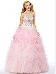 Fiesta formal Vestido - Rosa Caramelo Corte A Hasta el Suelo - Escote Corazón Organza