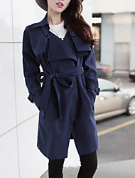 Women's Trench Coat,Solid Long Sleeve Spring / Fall / Winter Blue / Gray / Green Wool / Polyester / Others Medium