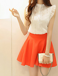 Women's Contrast Color Clothing Sets (Lace Sleeveless Blouse & A-line Skirts)