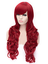 The New Cartoon Color Wig  Red  Inclined Bang Curly Hair Wigs