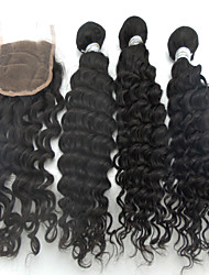 4Pcs Lot Brazilian Virgin High Temperature Resistance Long Wavy Human Hair With Closure Remy Weave Curly Hair Extension