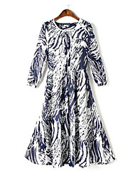 Women's Chinese Wind Sexy/Beach/Casual/Print/Maxi Stretchy ¾ Sleeve Maxi Dress (Chiffon/Elastic)
