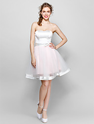 Knee-length Tulle / Stretch Satin Lace-up Bridesmaid Dress - Ball Gown Sweetheart with Bow(s) / Sash / Ribbon
