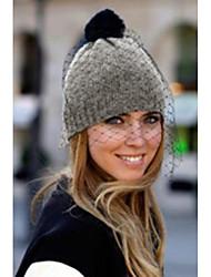 Women's Fashion Veiled Pom-pom Knit Gray Beanie Hat