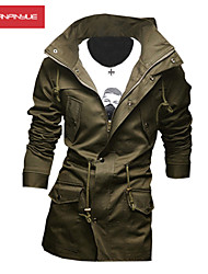 MANWAN WALK®Men's Casual Slim Solid Hooded Jacket with Stand Collar.
