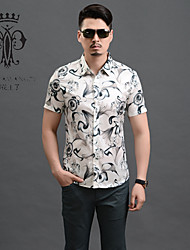 YINHUAWANGZI®Men's Exempt Iron Shirts Casual/Slim/Printing/Plus Size Short Sleeves Shirts (Cottons/Silk)