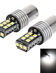1156 16w 600lm 6000k 15-2835 SMD LED branco lâmpada de sinal de volta do carro / luz de back-up (DC 12-24V, 1-par)