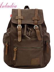 Anladia Mens Vintage Canvas Leather Travel Rucksack Military Backpack Satchel Laptop Bag
