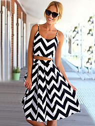 Women's Casual Print Round Sleeveless Suits