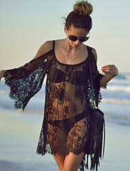 Women's Sexy Lace Strap Sheer Print Sun Dress