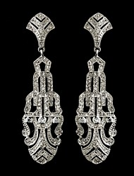 Vintage 1930's Wedding Women's Silver Crystal Earring For Birde Wedding