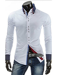 White Men's Casual Shirt Collar Long Sleeve Casual Shirts