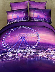 Shuian® 3D Reactive Printing Bedding Sets Four Pieces Quilt Duvet Cover Bed Sheet Pillowcase Bed In Bag Flat Sheet