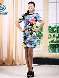 CANIS@Fashion Vintage Floral Print Short Sleeve Slim Dress