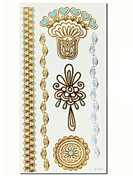 QINMI Women Jewelry Blue Metalic Gold Flash Tattoo Sticker Metallic Golden Temporary Tatoo Waterproof Fake Tatto