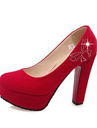 Damen-High Heels-Hochzeit Lässig Party & Festivität-Mikrofaser-BlockabsatzSchwarz Rot