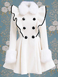met lange mouwen double-breasted witte wollen classic lolita jas