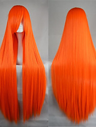 Hot Sale 40 Inches High Temperature Fiber Long Straight Orange Cosplay Costume Wig Side Bang