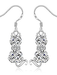lureme® Sweet Style Silver Plated  Lovely Cat Shaped Earrings