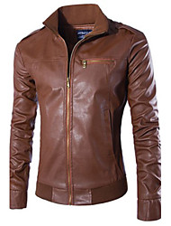 Men's Cool Faux Leather Long Sleeve Tops