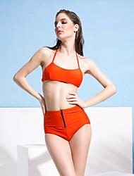 Women Wireless/Padded Bras Halter Zipper Open Bikinis Swimwear Swimsuit Bathing Suit