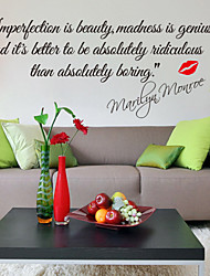 Wall Stickers Wall Decals, Style Impersonation Is Beauty English Words & Monroe Quotes PVC Wall Stickers