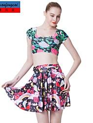 de cmfc®women falda sexy mediados de cintura de la impresión delgada falda plisada todo-partido underdress