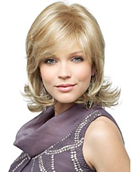 High Quality Capless Medium Wavy Mono Top Human Hair Wigs 4 Colors to Choose