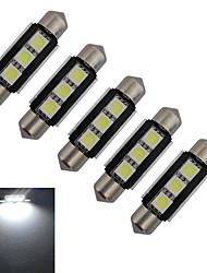 JIAWEN® 5pcs Festoon 39mm 1W 3x5050SMD 60-70LM 6000-6500K Cool White Light LED Car Light (DC 12V)