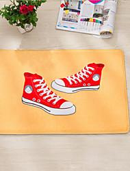"Bath Mat Modern Flannel Red Canvas Shoes W16"" x L24"""