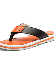 Men's Shoes Casual Leather Slippers White/Orange