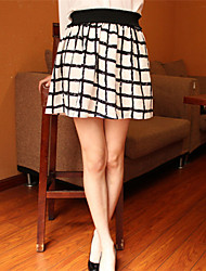 Women's Casual High Waist  Grid Skirts