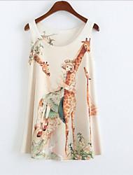 Women's Round Collar Giraffe Print Tank Top