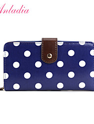Anladia Womens Ladies Girls Purse Oilcloth Polka Dots Wallet Coin Pocket Zip Clutch