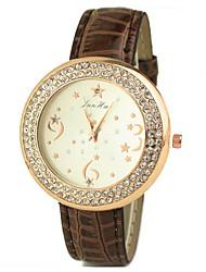 c&c strass ocasional relógio de couro falso das mulheres