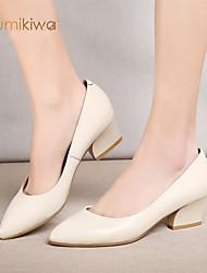 KumiKiwa 2015 New Spring Summer Fashion Women shoes Chunky Heel Pointed Toe Shoes Size 34-39