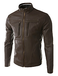 JOGAL  Men Stand Collar Locomotive style Slim Fit leather Jacket