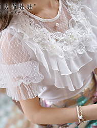 Pink Doll®Women's Round Lace Ruffle Beads Short Sleeve Shirt