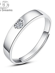 Poetry Dreams Sterling Silver 3-stone Heart Adjustable Ring Men's Ring