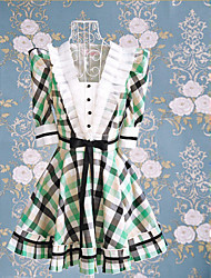 Half Sleeve Short Green Check Pattern Cotton Sweet Lolita Dress
