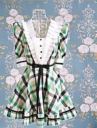 media manga vestido dulce lolita corta de algodón patrón de verificación verde