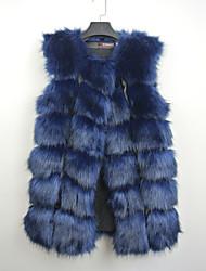 Fur Vests Vests Sleeveless Faux Fur Black/Lilac/Gray/Blue