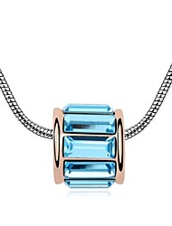 Because of You Short Necklace Plated with 18K Champagne Gold Aquamarine Crystallized Austrian Stones