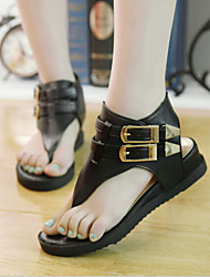 Women's Shoes Low Heel Comfort/Open Toe Thong Sandals Casual Black/White