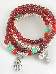 Women's Bracelet of Arrival Synthetic Garnet Stone and Tibetan Silver Multilayer