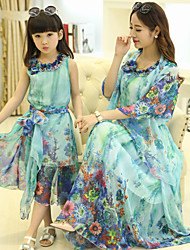 Summer Mother's Dresses of Family Clothing Sets (Chiffon)