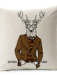 Modern Style Wear a jacket of deer Patterned Cotton/Linen Decorative Pillow Cover