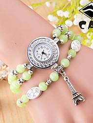 tissé tour du cadran en céramique de braceiet analogique bande de quartz pour femmes de la main (coloris assortis)