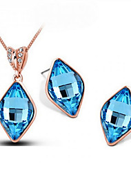 Women'High-grade rectangle earrings necklace suits(1 set)8715